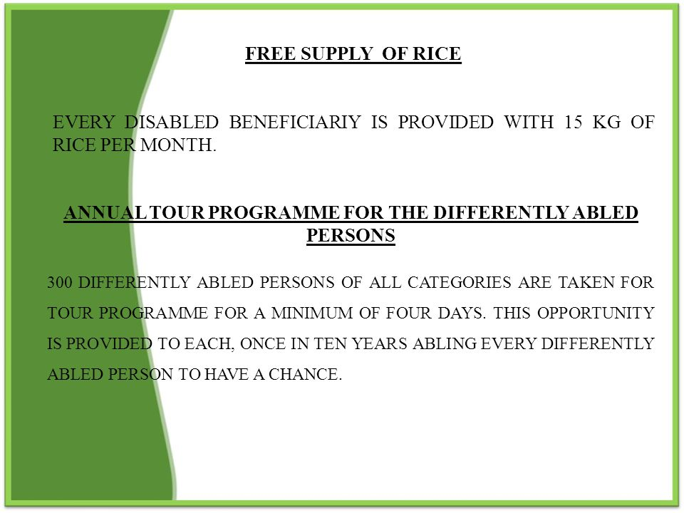 ANNUAL TOUR PROGRAMME FOR THE DIFFERENTLY ABLED PERSONS
