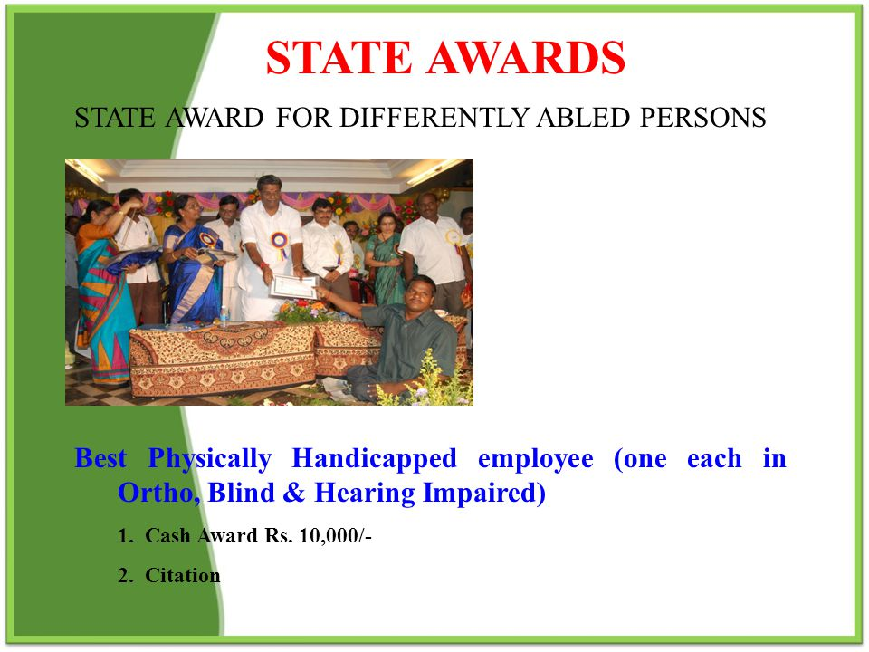 STATE AWARDS STATE AWARD FOR DIFFERENTLY ABLED PERSONS