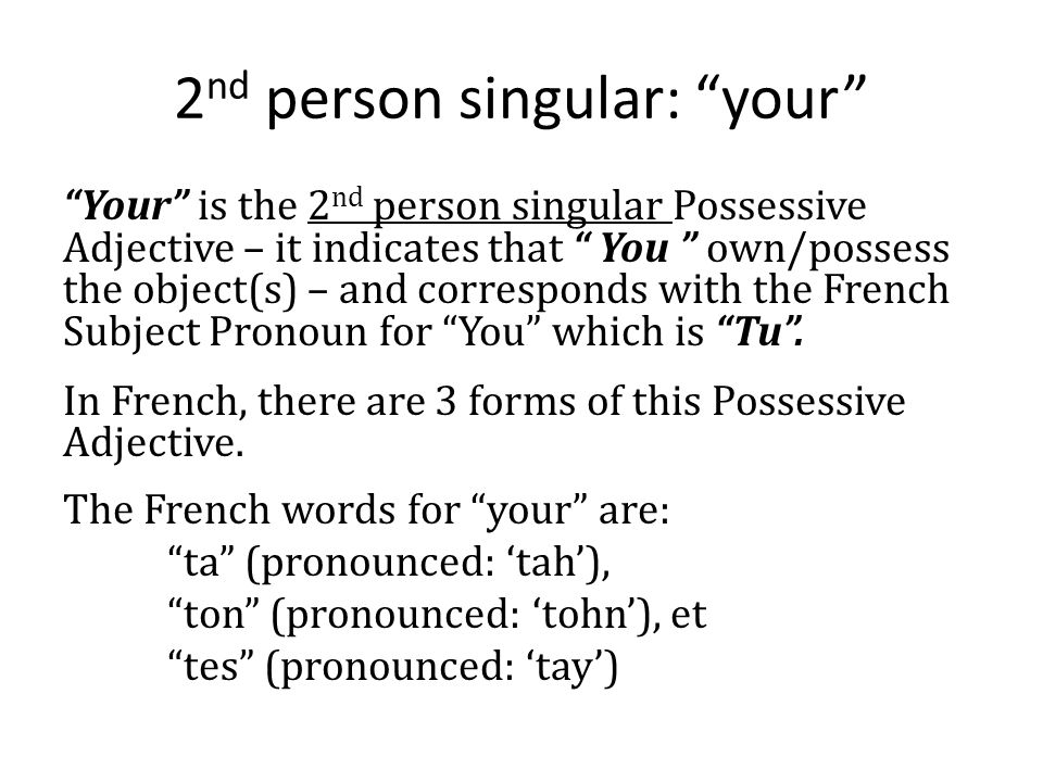2nd person singular: your