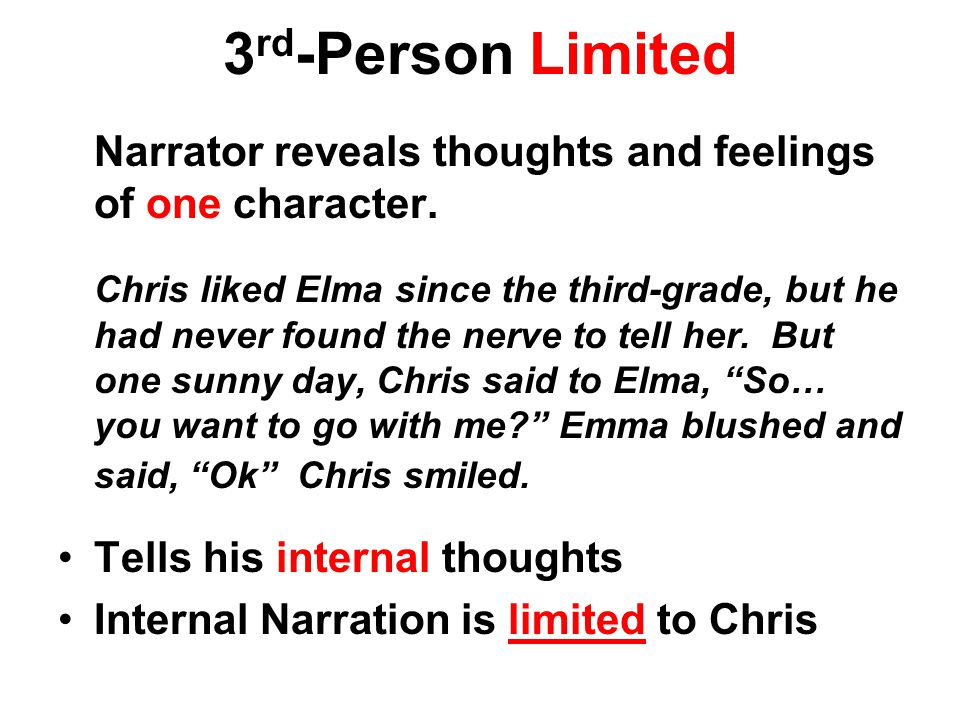 3rd-Person Limited Narrator reveals thoughts and feelings of one character.
