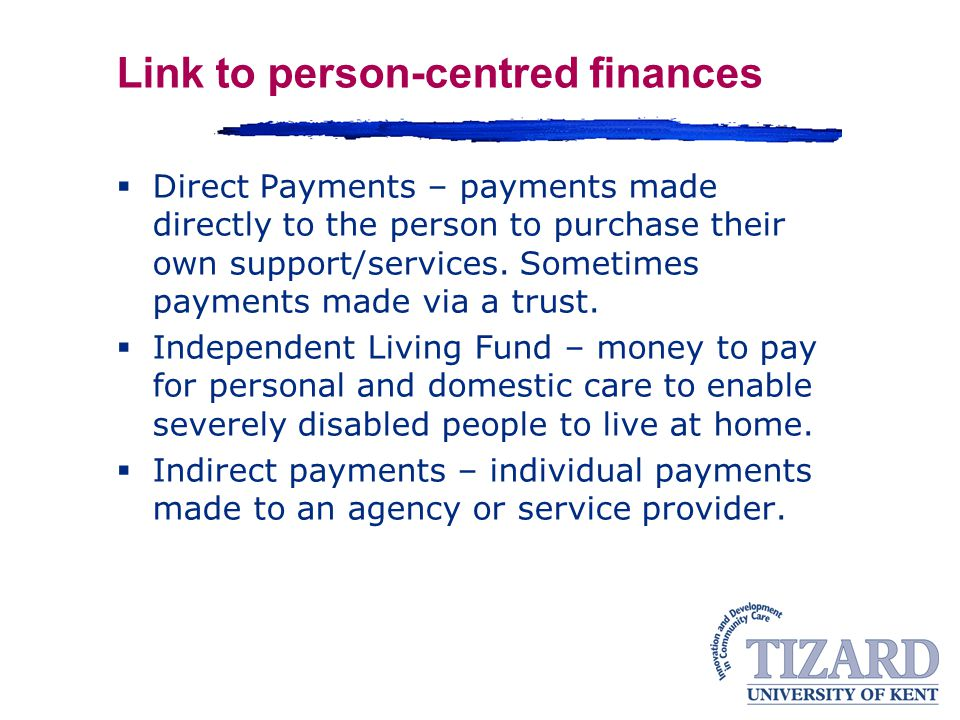 Link to person-centred finances