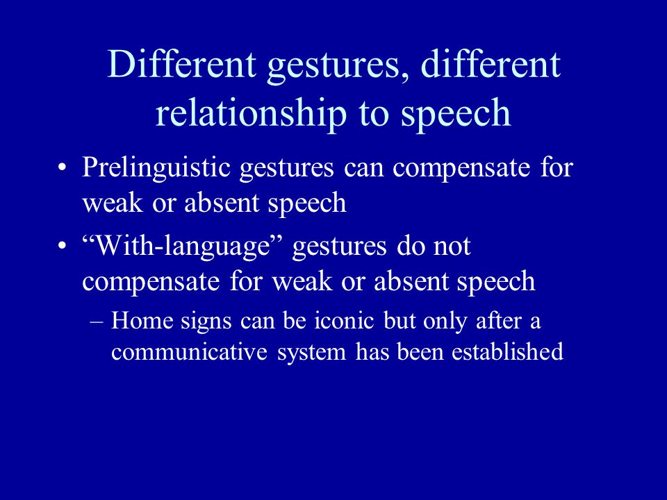 Different gestures, different relationship to speech