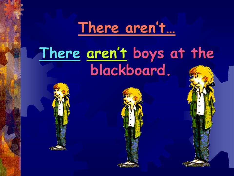 There aren't boys at the blackboard.
