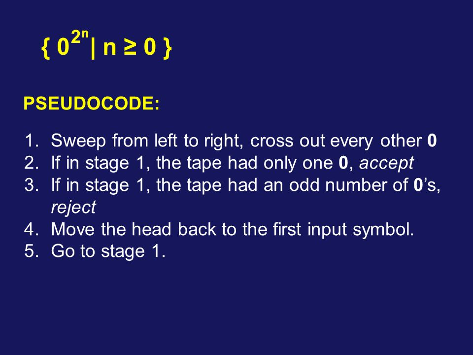 2n { 0 | n ≥ 0 } PSEUDOCODE: Sweep from left to right, cross out every other 0. If in stage 1, the tape had only one 0, accept.