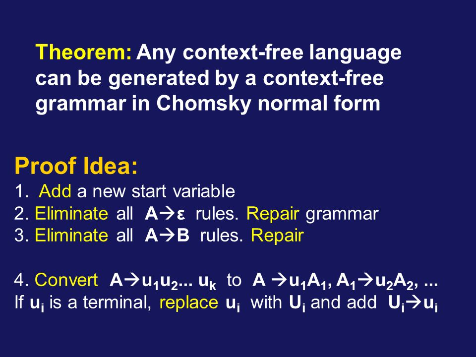 Theorem: Any context-free language can be generated by a context-free grammar in Chomsky normal form