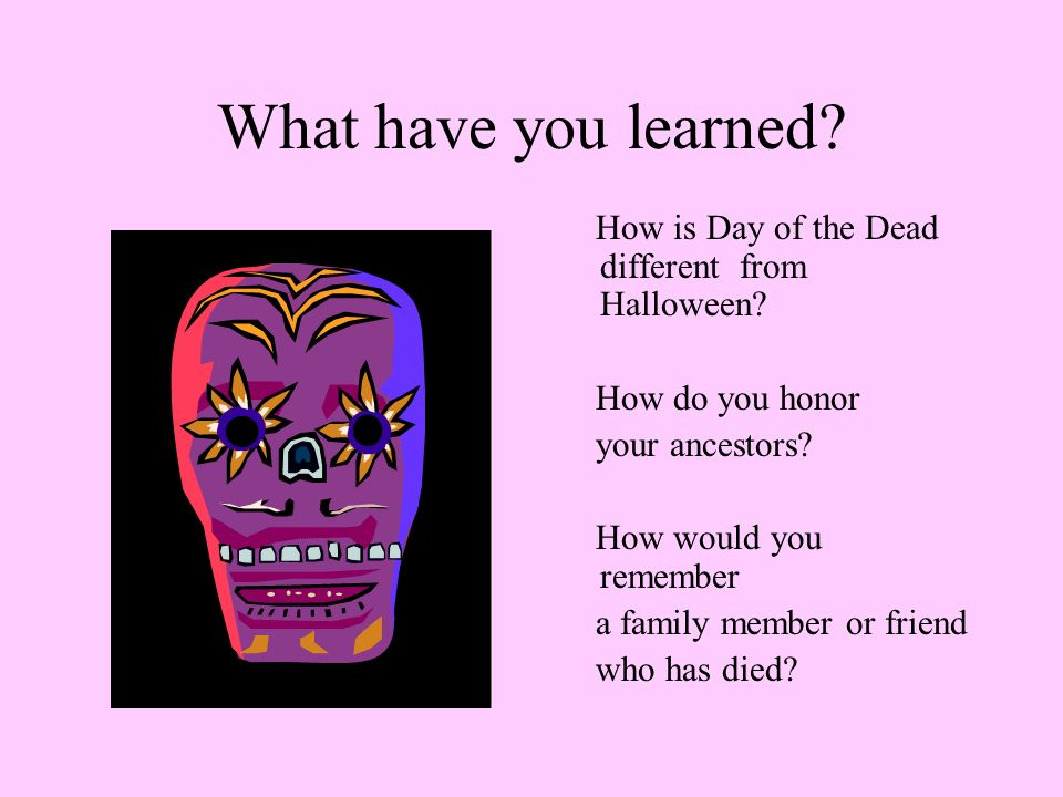 What have you learned How is Day of the Dead different from Halloween How do you honor. your ancestors
