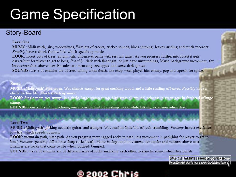 Game Specification Story-Board