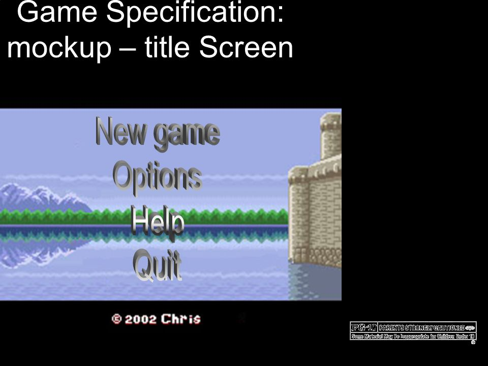 Game Specification: mockup – title Screen