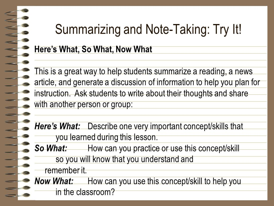 Summarizing and Note-Taking: Try It!
