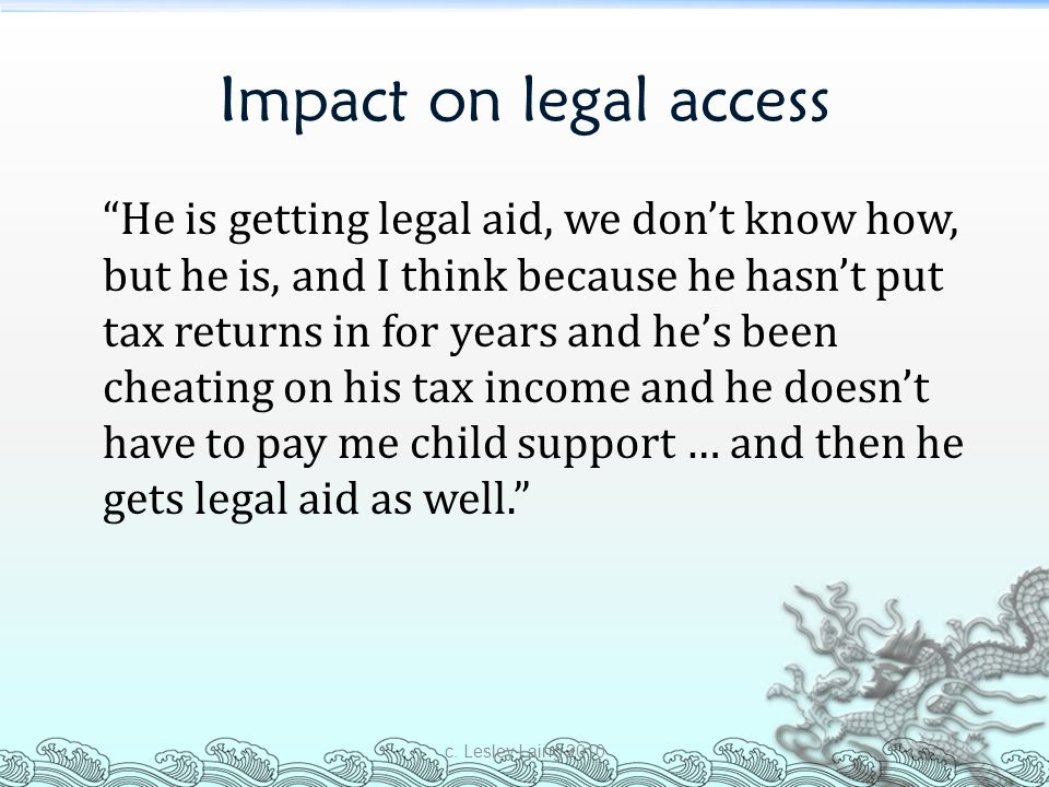 Impact on legal access