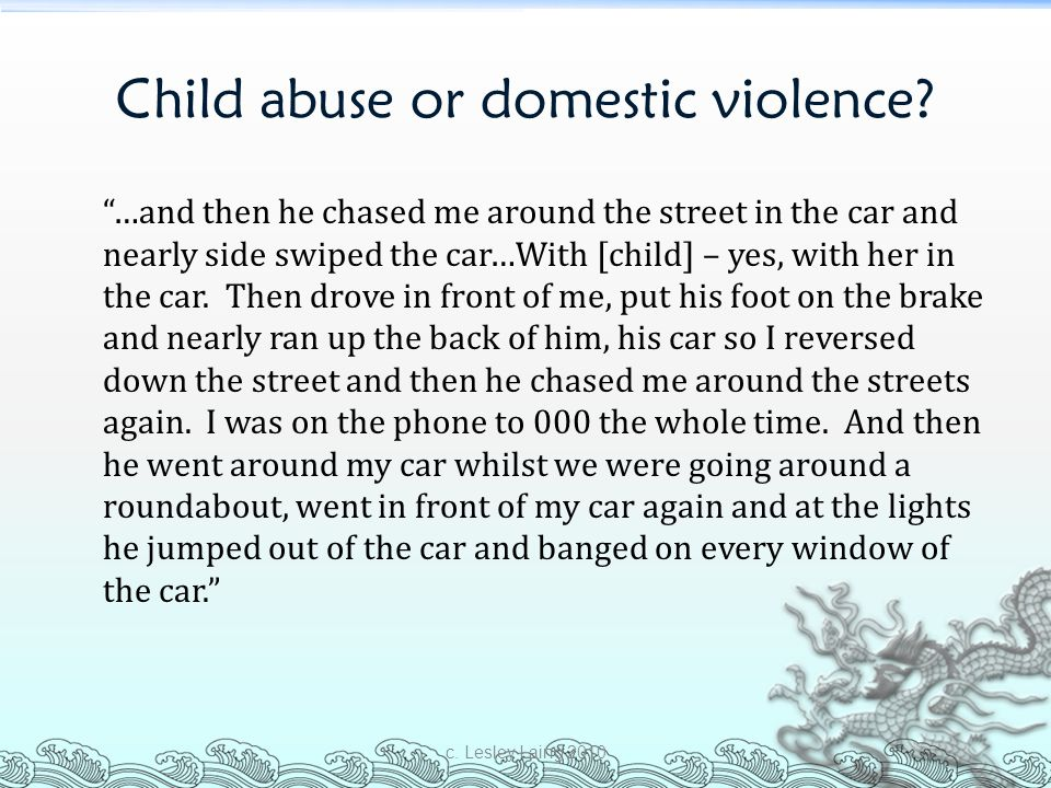 Child abuse or domestic violence