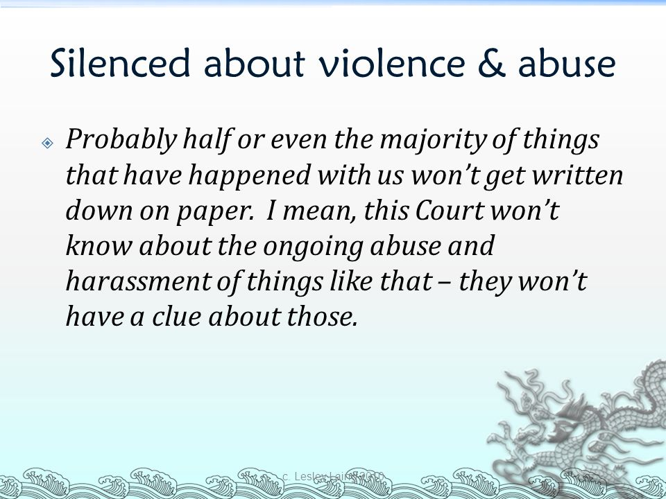 Silenced about violence & abuse