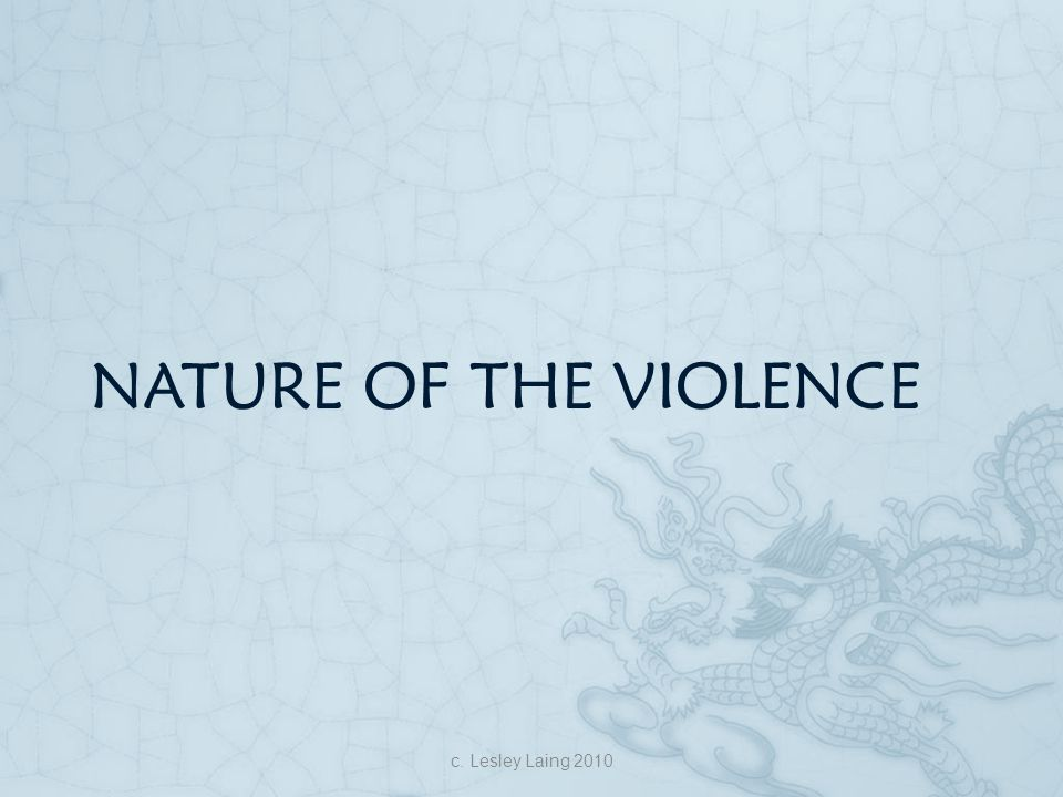 Nature of the violence c. Lesley Laing 2010
