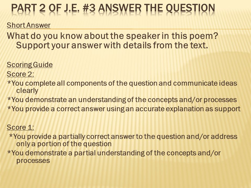 Part 2 of J.E. #3 Answer the question