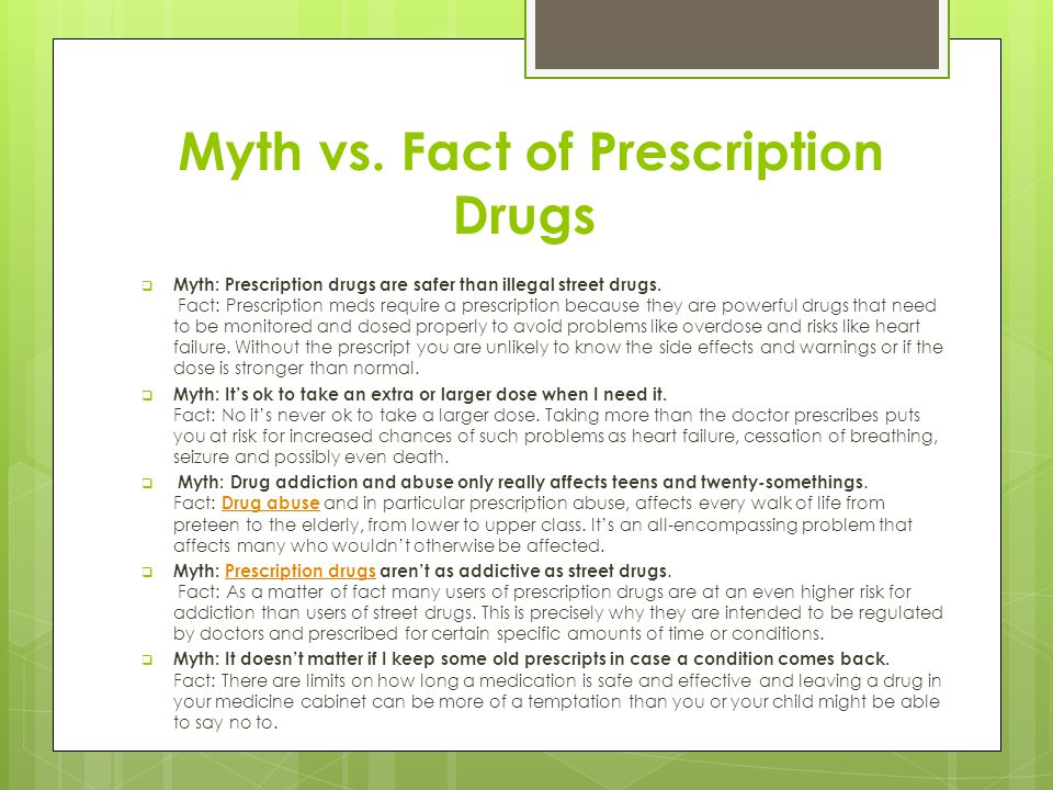 Myth vs. Fact of Prescription Drugs