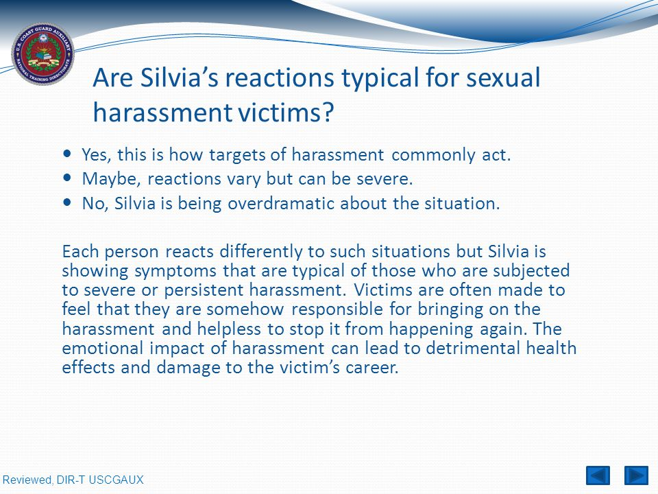 Are Silvia's reactions typical for sexual harassment victims