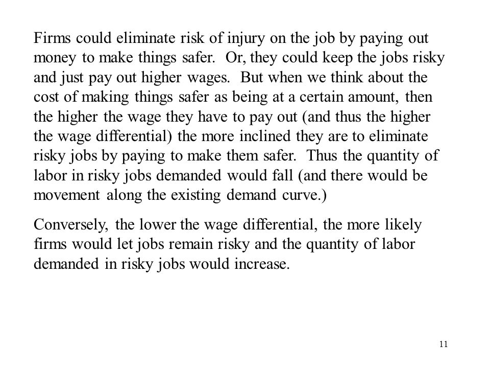 Firms could eliminate risk of injury on the job by paying out money to make things safer. Or, they could keep the jobs risky and just pay out higher wages. But when we think about the cost of making things safer as being at a certain amount, then the higher the wage they have to pay out (and thus the higher the wage differential) the more inclined they are to eliminate risky jobs by paying to make them safer. Thus the quantity of labor in risky jobs demanded would fall (and there would be movement along the existing demand curve.)