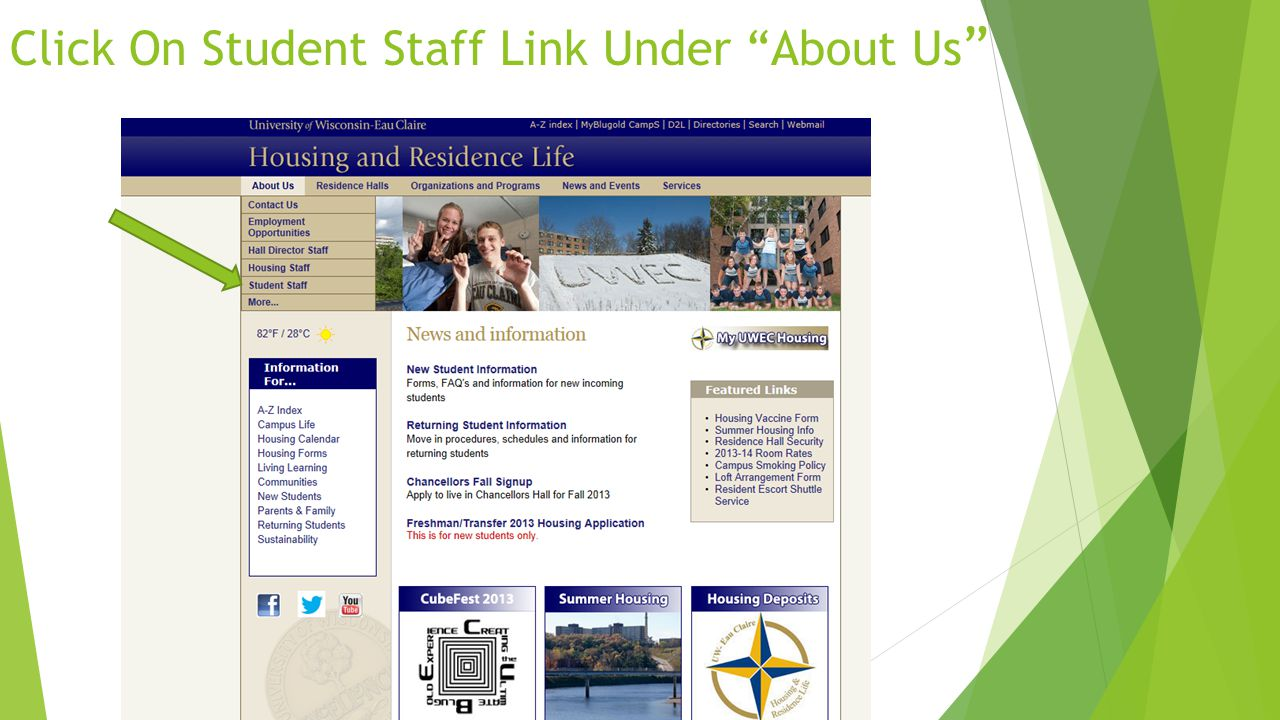 Click On Student Staff Link Under About Us
