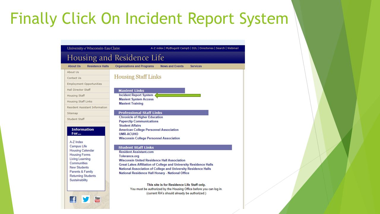 Finally Click On Incident Report System