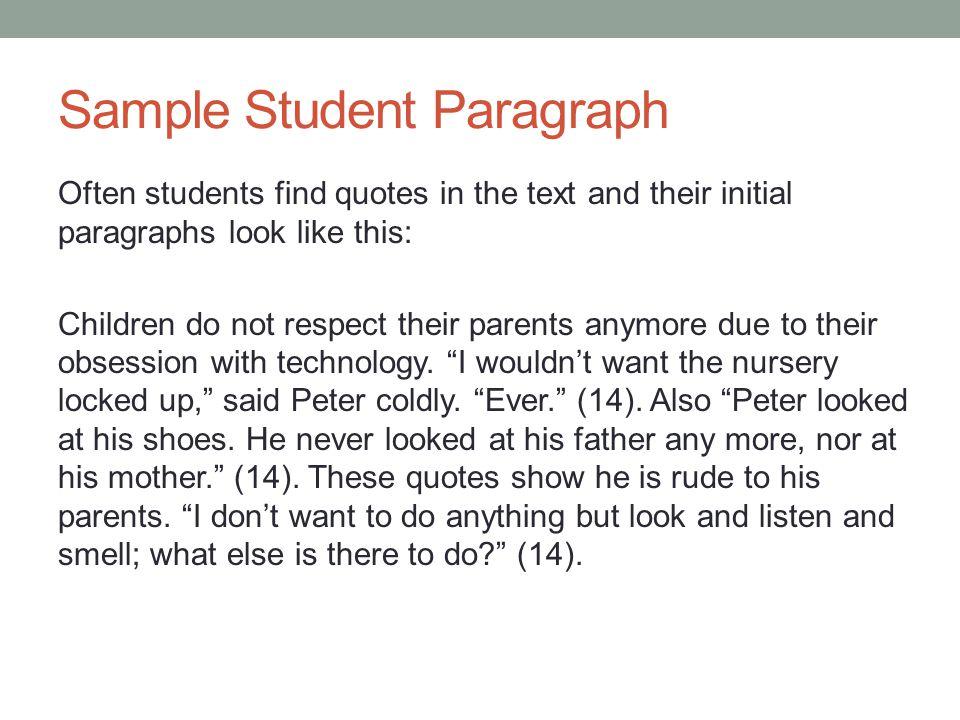 a paragraph on children