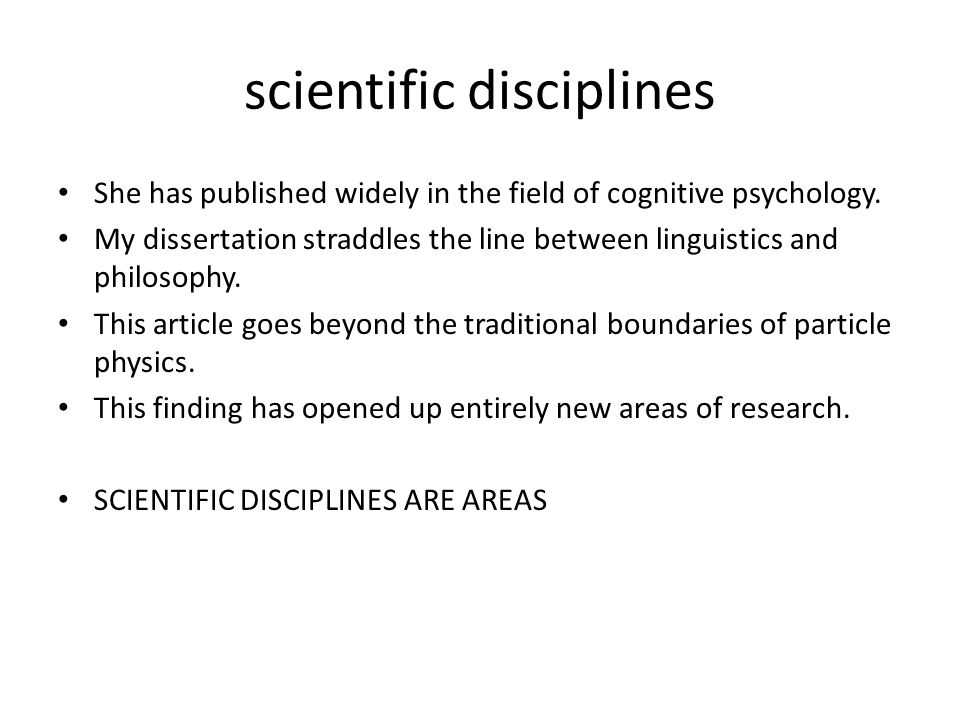 scientific disciplines