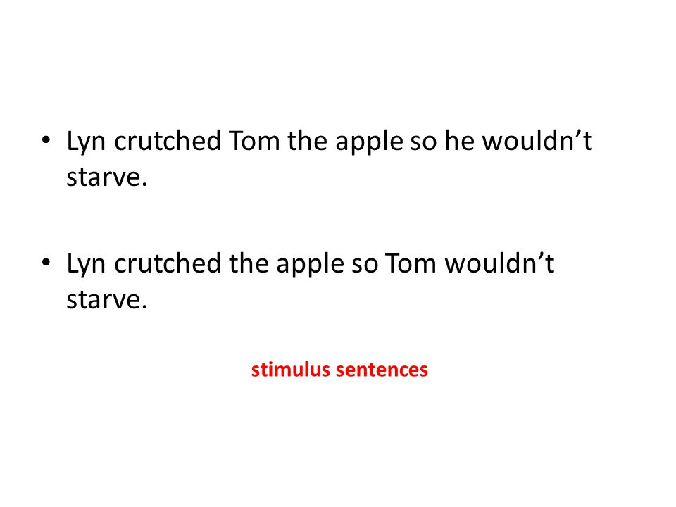 Lyn crutched Tom the apple so he wouldn't starve.