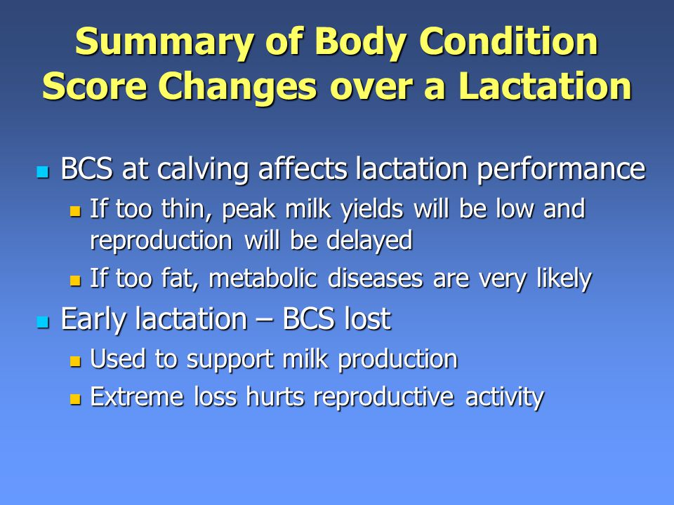 Summary of Body Condition Score Changes over a Lactation
