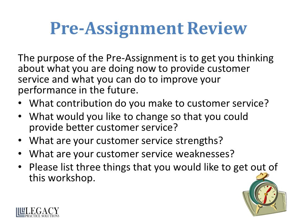 Pre-Assignment Review