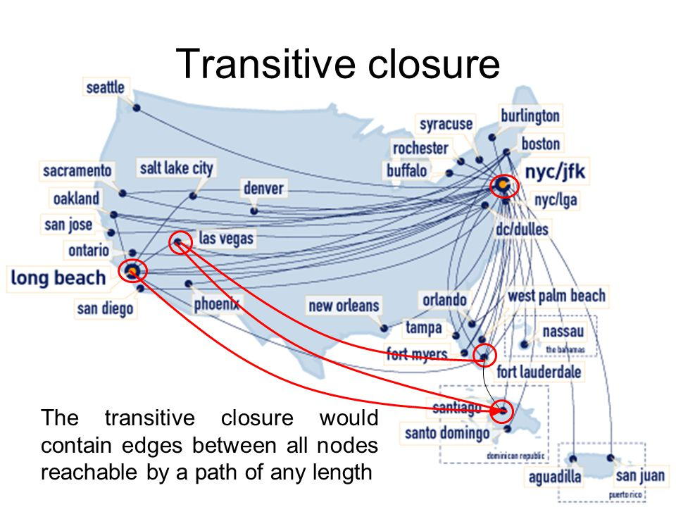 Transitive closure The transitive closure would contain edges between all nodes reachable by a path of any length.