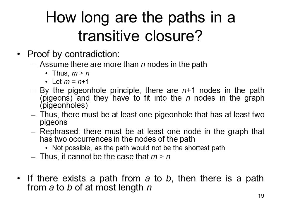 How long are the paths in a transitive closure