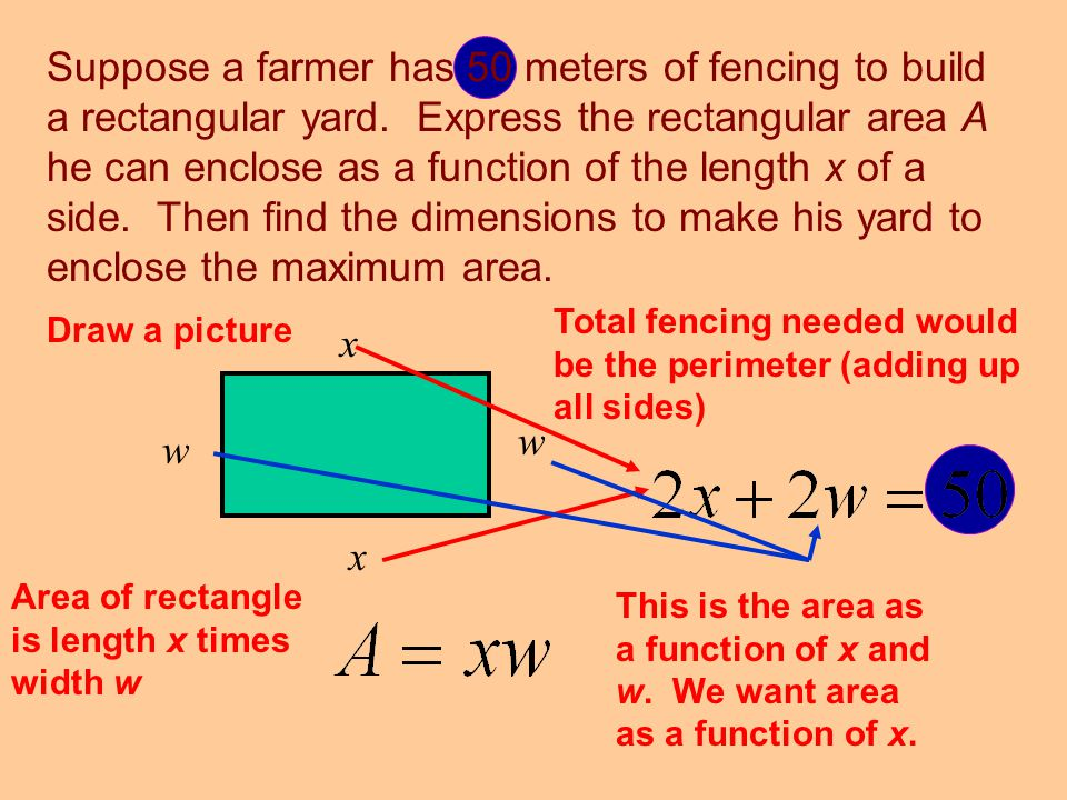 Suppose a farmer has 50 meters of fencing to build a rectangular yard