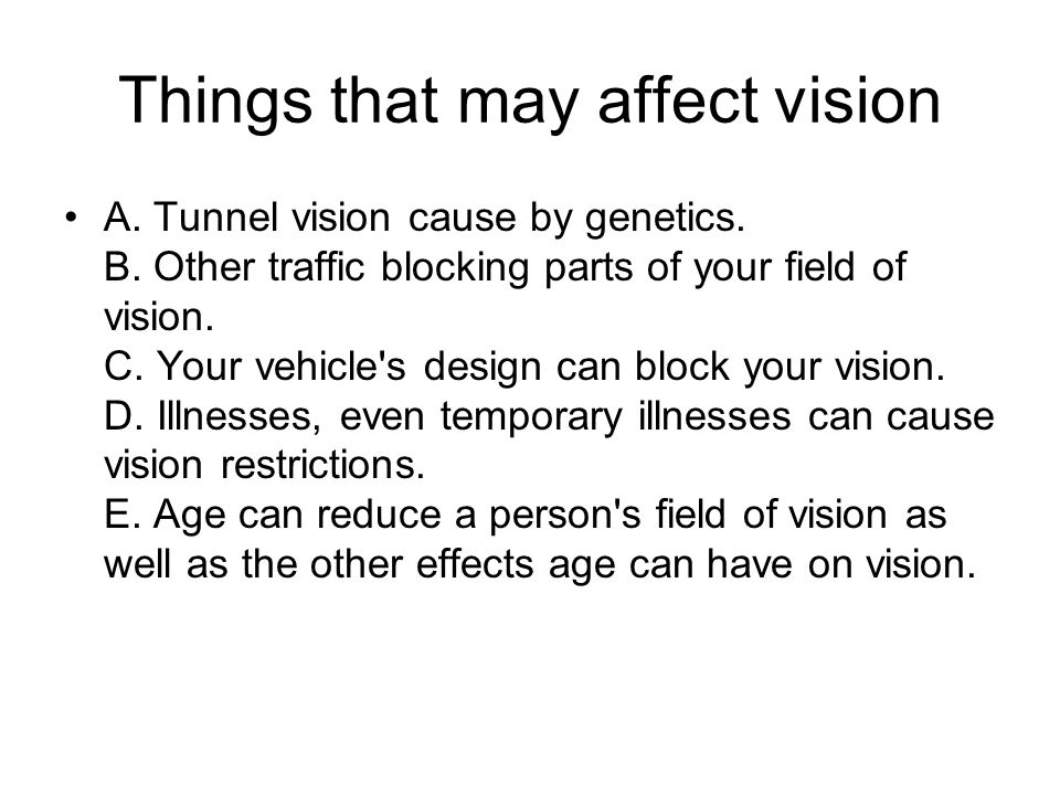 Things that may affect vision