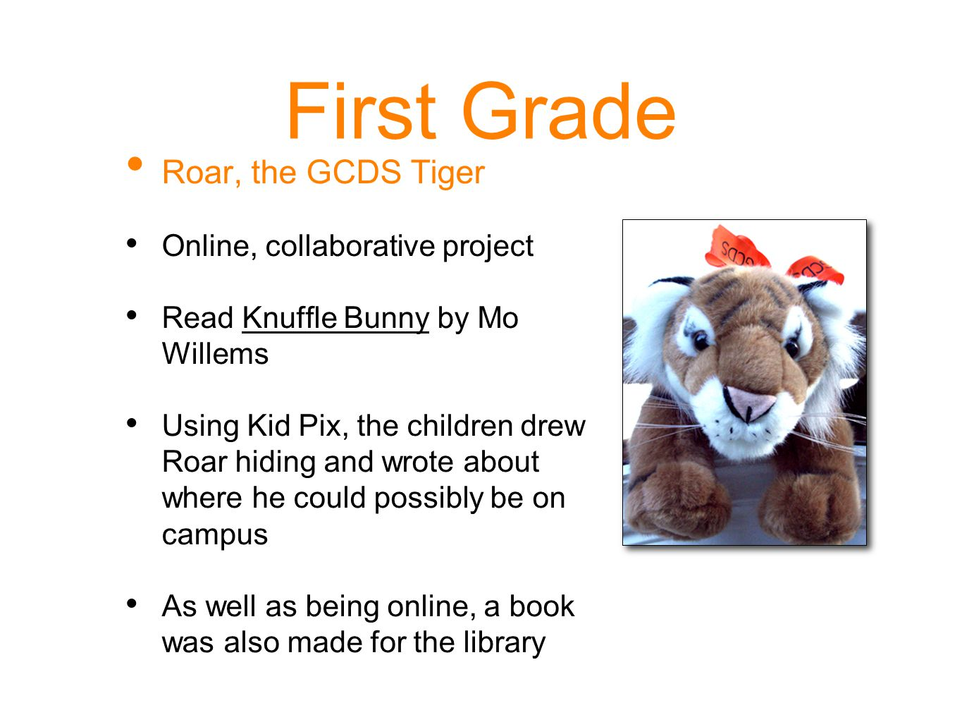First Grade Roar, the GCDS Tiger Online, collaborative project