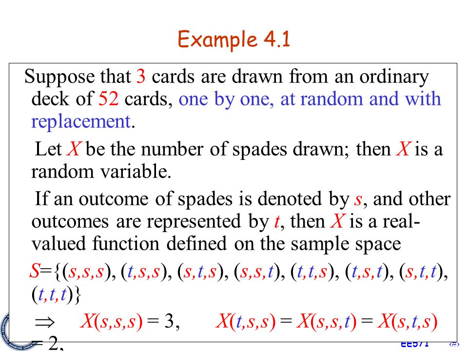 Example 4.1 Suppose that 3 cards are drawn from an ordinary deck of 52 cards, one by one, at random and with replacement.