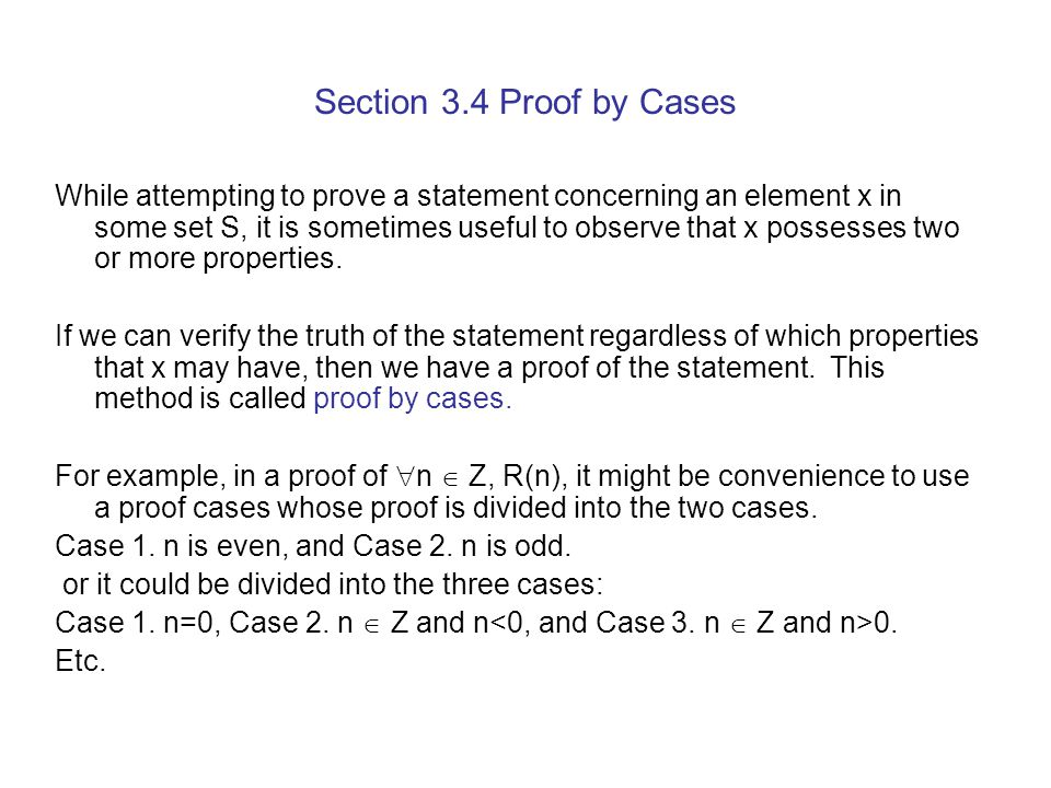 Section 3.4 Proof by Cases
