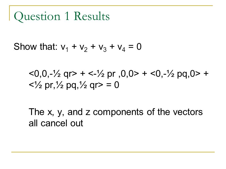 Question 1 Results Show that: v1 + v2 + v3 + v4 = 0