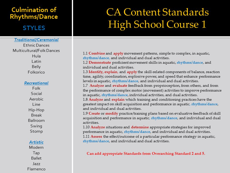 CA Content Standards High School Course 1