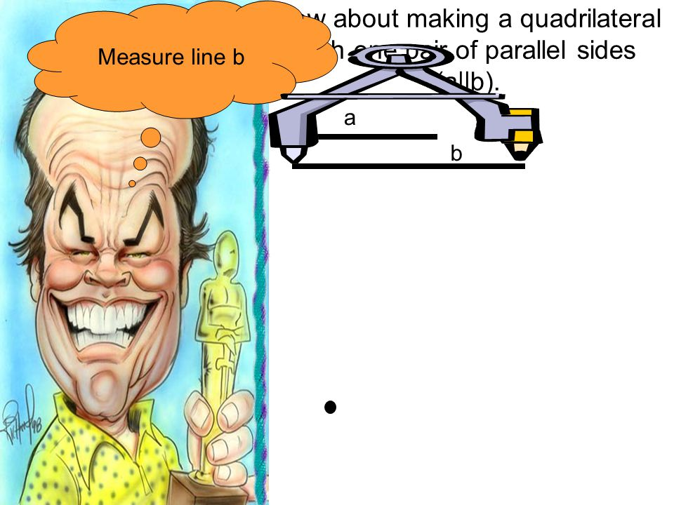 Measure line b How about making a quadrilateral with one pair of parallel sides (a||b). a b