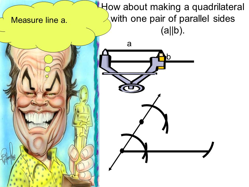 Measure line a. How about making a quadrilateral with one pair of parallel sides (a||b). a b