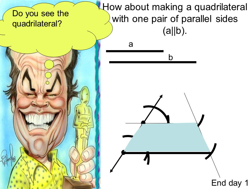 How about making a quadrilateral with one pair of parallel sides (a||b).