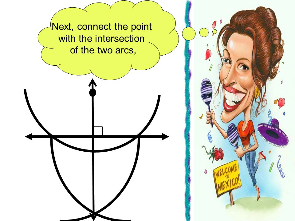 Next, connect the point with the intersection of the two arcs,