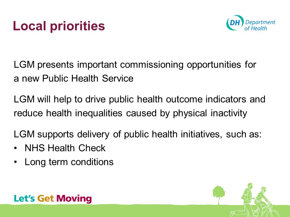 Local priorities LGM presents important commissioning opportunities for. a new Public Health Service.