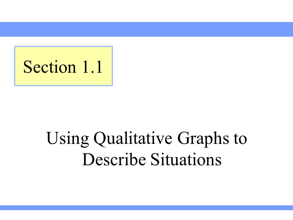 Using Qualitative Graphs to Describe Situations
