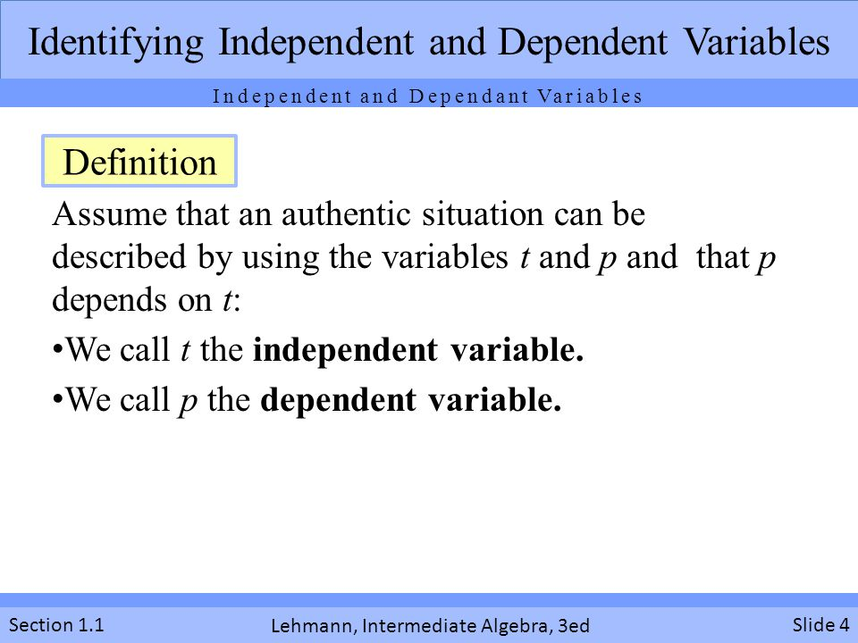 Identifying Independent and Dependent Variables