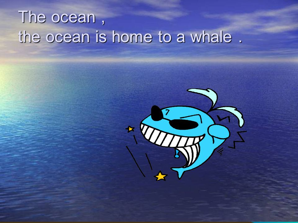 The ocean , the ocean is home to a whale .