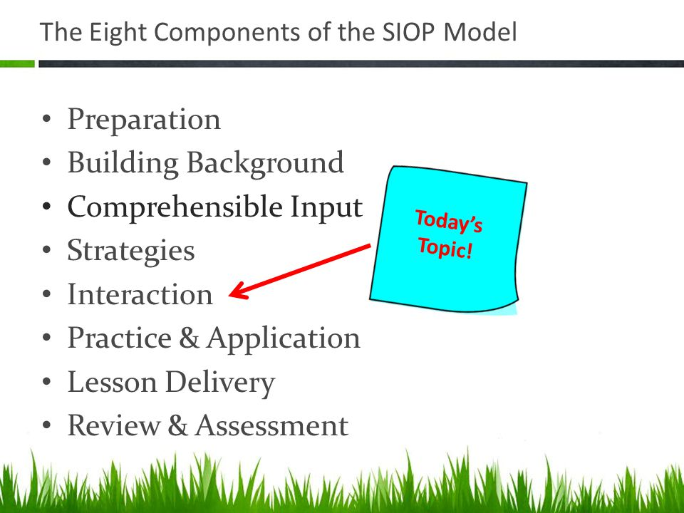 The Eight Components of the SIOP Model