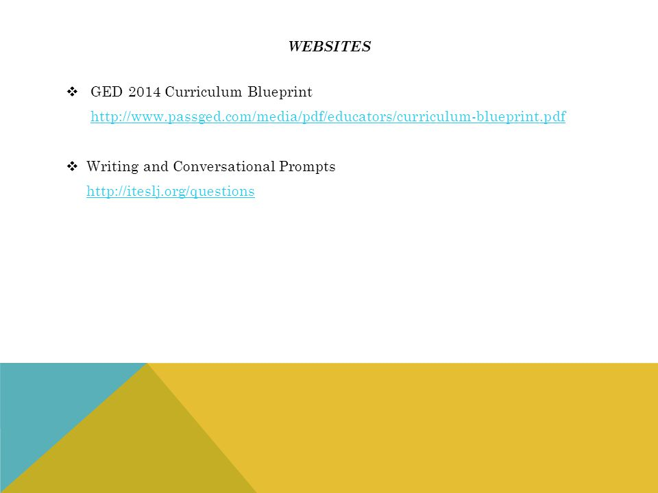 websites GED 2014 Curriculum Blueprint. http://www.passged.com/media/pdf/educators/curriculum-blueprint.pdf.