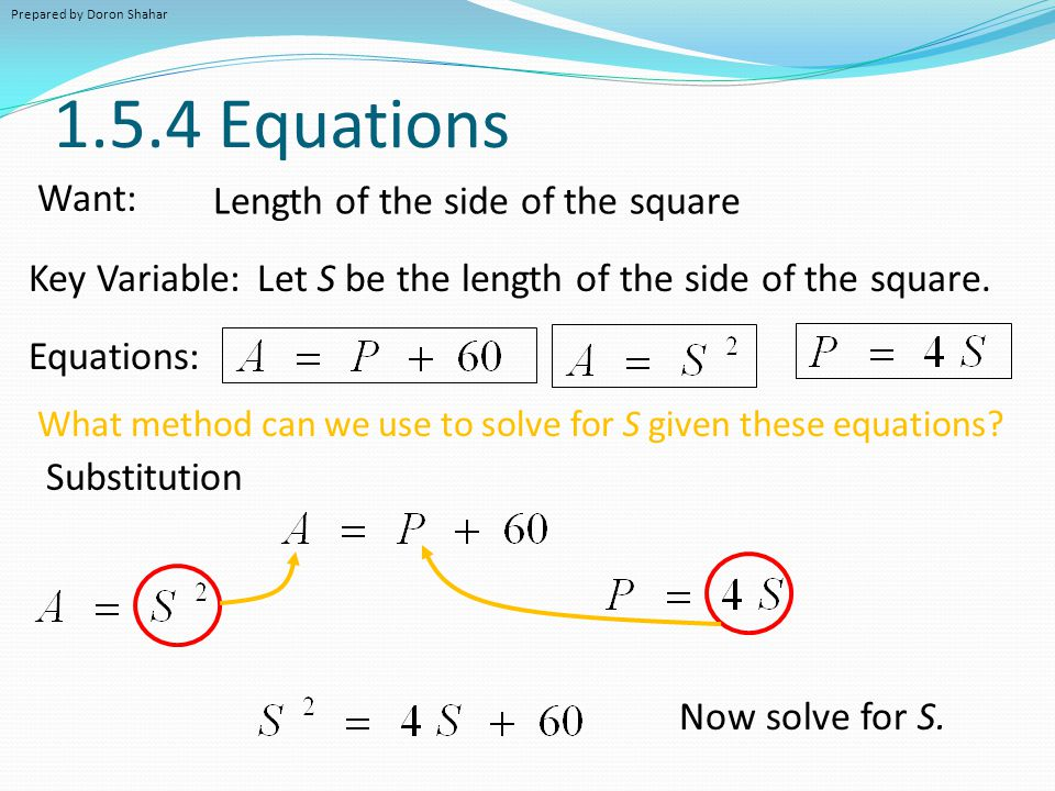 1.5.4 Equations Want: Length of the side of the square Key Variable: