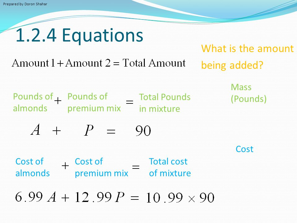 1.2.4 Equations What is the amount being added Mass (Pounds)