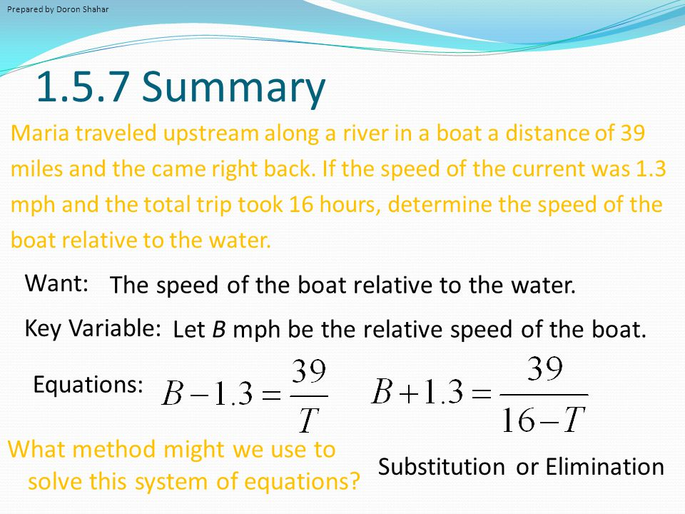 1.5.7 Summary Want: The speed of the boat relative to the water.